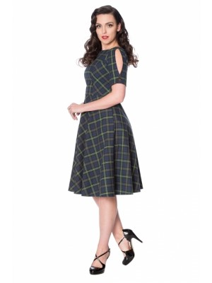 Blue Green Tartan Dress