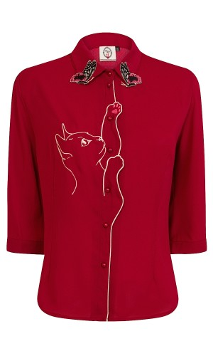 Red Kitty Blouse