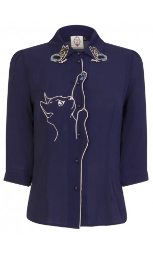 Blue Kitty Blouse
